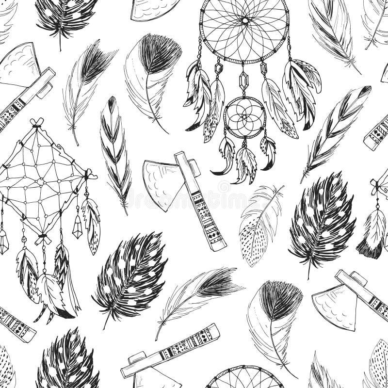 Bezszwowy wzór z plemiennymi, indyjskimi elementami, ilustracja wektor