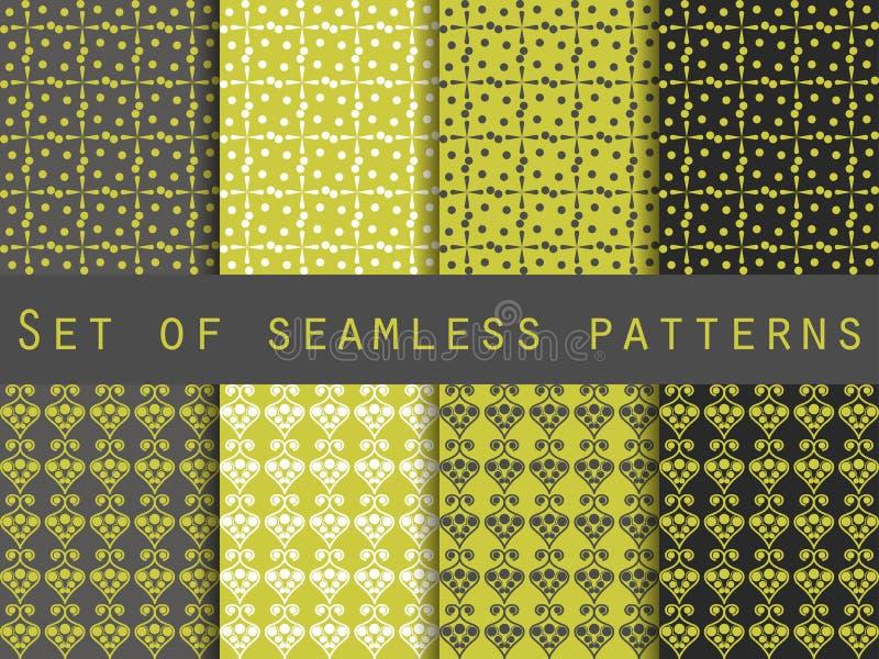 Bezszwowy wzór z pluśnięciami i kropkami Set Wzór dla tapety, płytki, tkaniny, tła ilustracja wektor