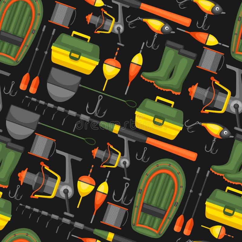 Bezszwowy wzór z połów dostawami Tło robić bez przycinać maskę Łatwy używać dla tła, tkanina ilustracja wektor