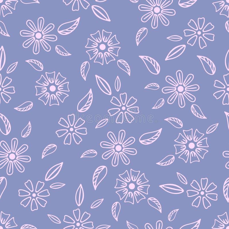 Bezszwowy wzór z pociągany ręcznie delikatnymi kwiatami ilustracja wektor