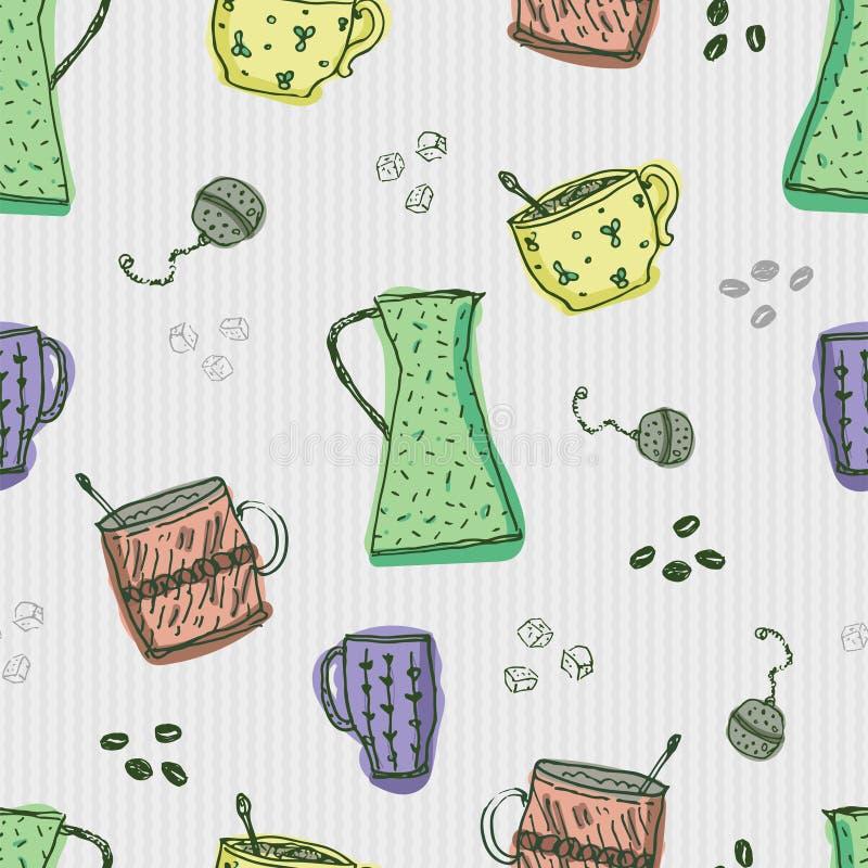 Bezszwowy wzór z pociągany ręcznie doodle kawowymi i herbacianymi elementami na popielatym tle ilustracji
