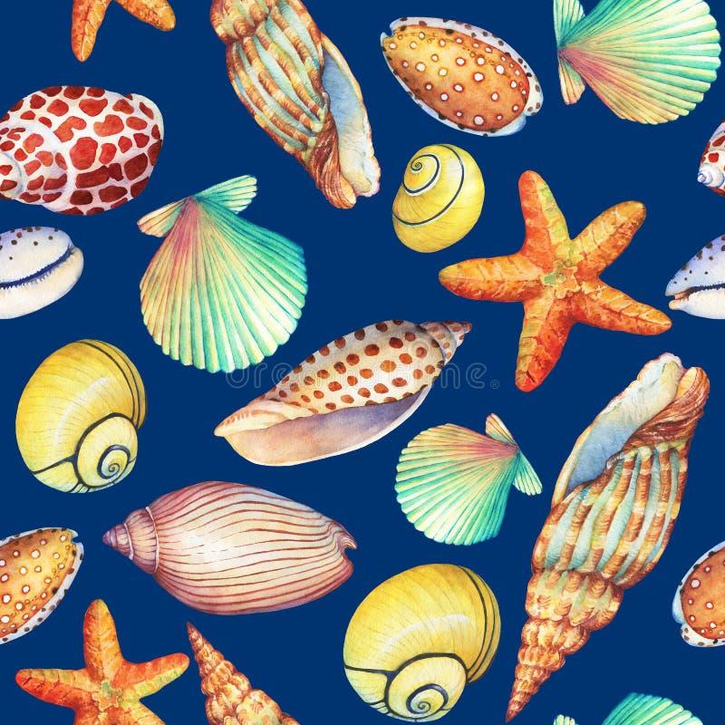 Bezszwowy wzór z podwodnymi życie przedmiotami na zmroku, - błękitny tło Żołnierz piechoty morskiej Shell, denna gwiazda Akwareli royalty ilustracja