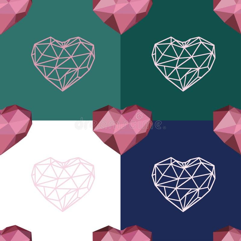 Bezszwowy wzór z poligonalnym sercem i konturu sercem royalty ilustracja