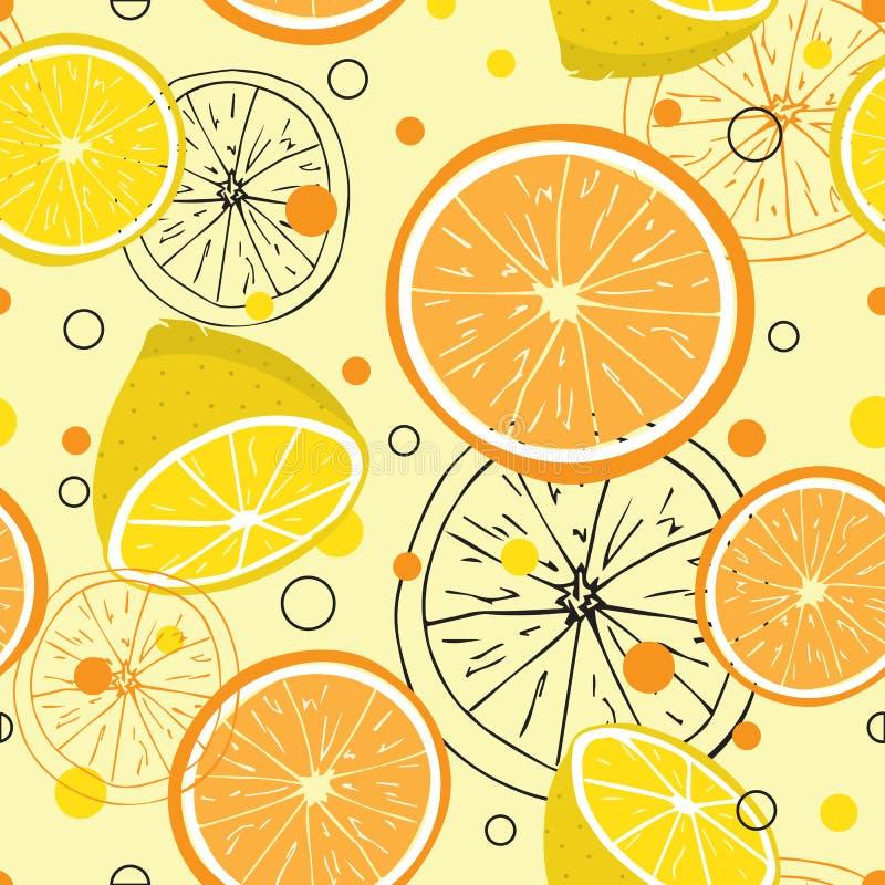 Bezszwowy wzór z pomarańcze i cytryny owoc na żółtym tle ilustracji