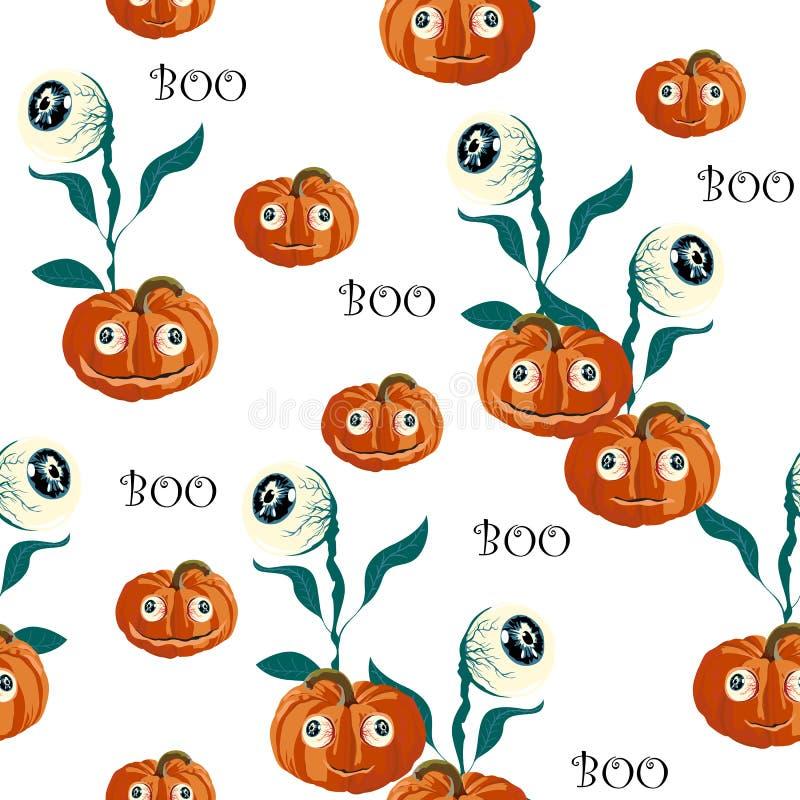 Bezszwowy wzór z pomarańczowe Halloweenowe banie rzeźbić twarzami i przyglądający się na białym tle ilustracji