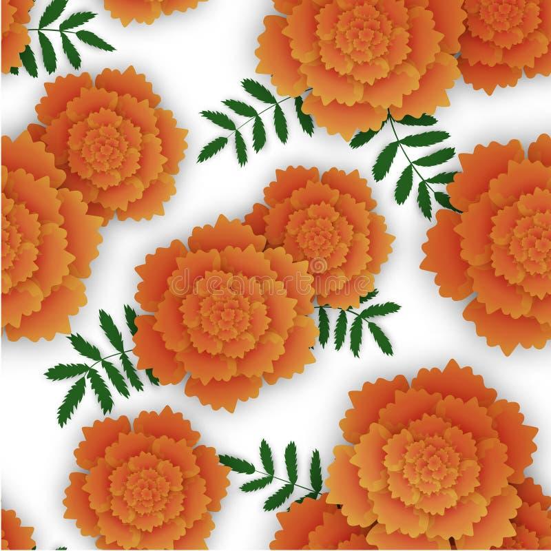 Bezszwowy wzór z pomarańczowym nagietkiem i liśćmi zdjęcie stock