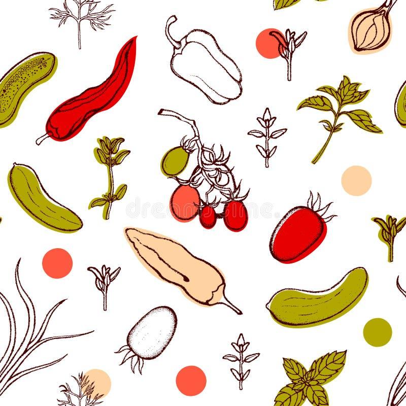 Bezszwowy wzór z pomidorami, pieprze, cebule, ogórki, basil, koper, macierzanka Tło z warzywami i korzennymi ziele ilustracja wektor