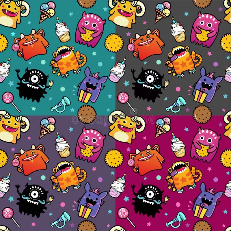 Bezszwowy wzór z potworem i jedzeniem ilustracji