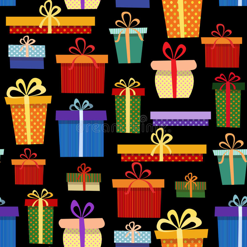 Bezszwowy wzór z prezentów pudełkami w różnym obrazy royalty free