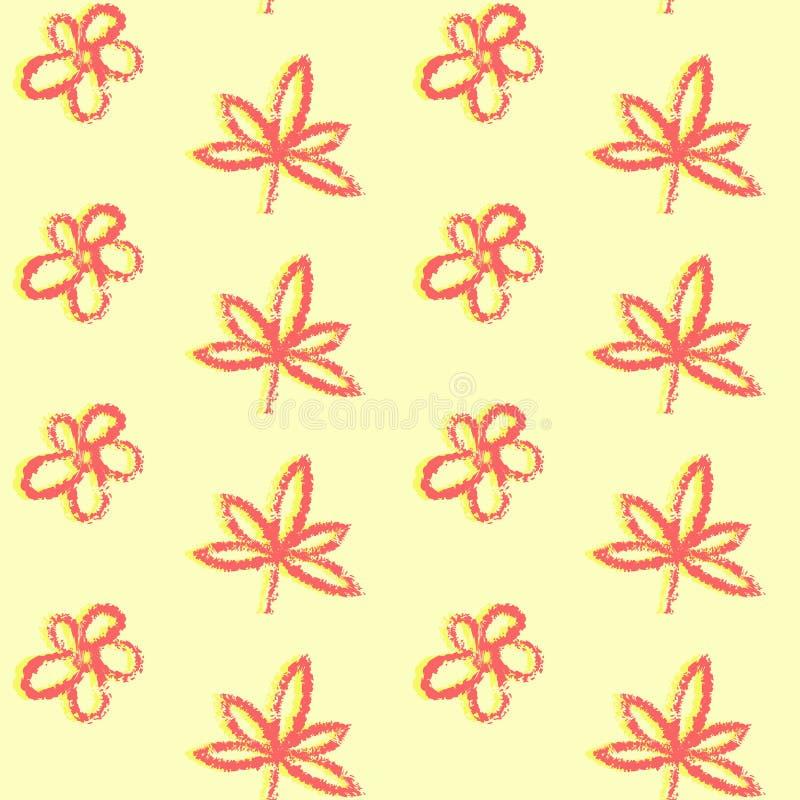 Bezszwowy wzór z prosta ręka rysującymi liśćmi ilustracji