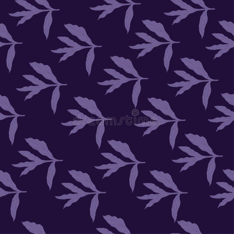 Bezszwowy wzór z przezroczystość liśćmi peonia R?ka rysuj?cy atramentu nakre?lenie Pirple protestuje na ciemnym fiołkowym tle ilustracji