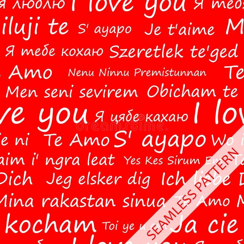 Bezszwowy wzór z przyznaje miłość w różnych językach jon ilustracji