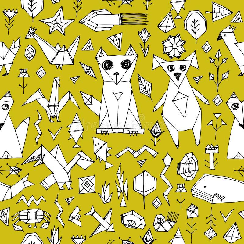 Bezszwowy wzór z Psich kota lisa ryba ptaków dennymi zwierzętami i roślinami, Czarny kontur na musztardy żółtym tle, doodle dekor royalty ilustracja