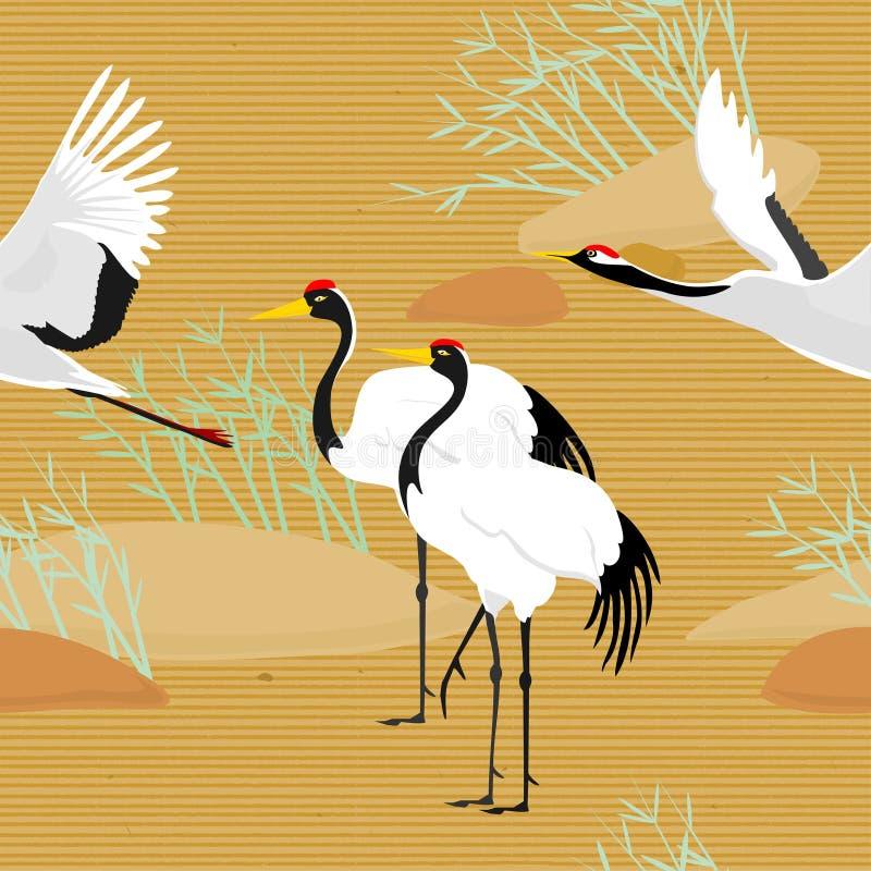 Bezszwowy wzór z ptaków latać Żurawie & sosna wz?r japo?skiego ilustracja ilustracji