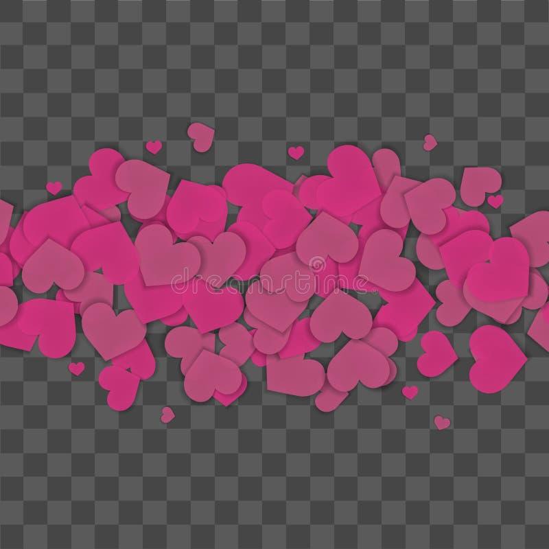 Bezszwowy wzór z purpurowymi sercami na przejrzystym tle wektor ilustracji
