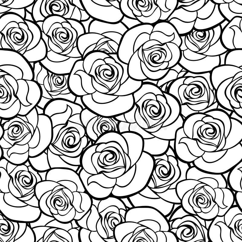 Bezszwowy wzór z róża konturami również zwrócić corel ilustracji wektora ilustracja wektor