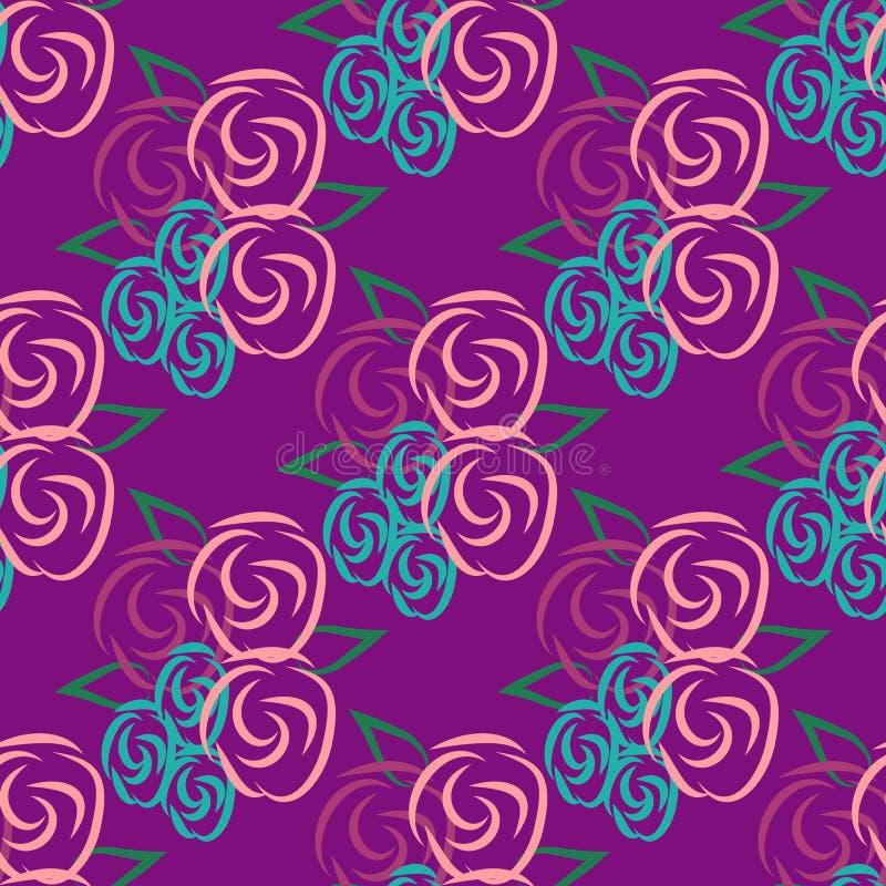 Bezszwowy wzór z różami na lilym tle ilustracji