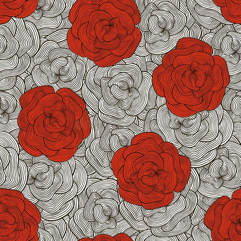 Bezszwowy wzór z różami w doodle stylu royalty ilustracja