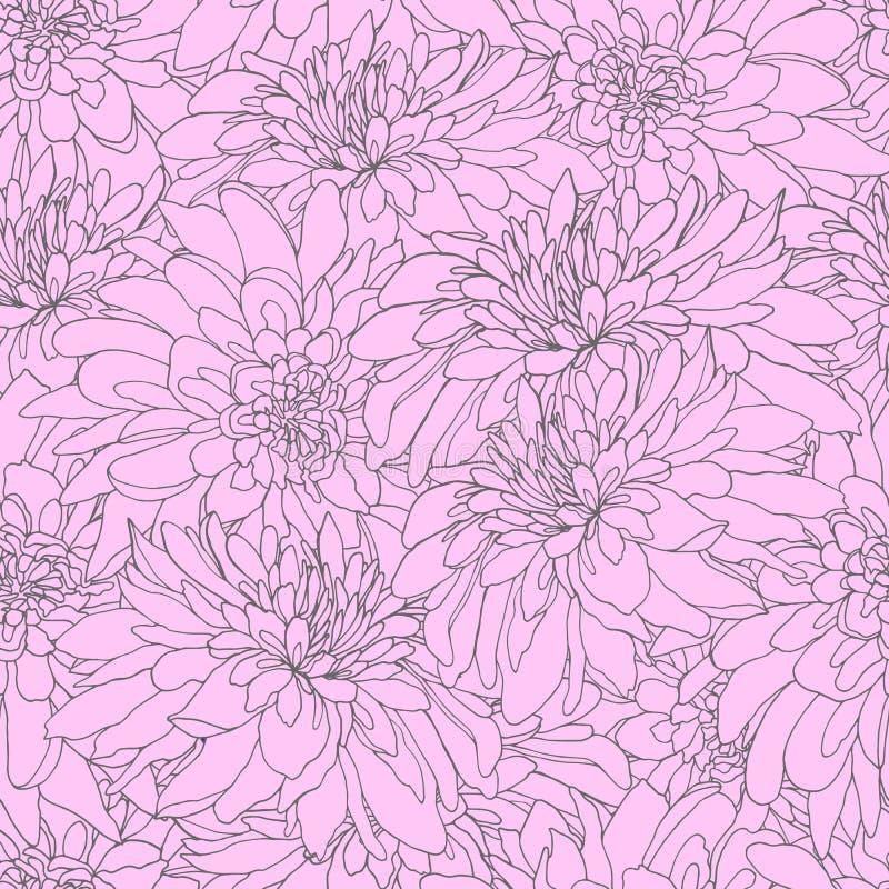Bezszwowy wzór z różanymi chryzantemami Nieko?cz?cy si? tekstura dla projekta Wektorowy tło z chryzantemami dla twój ilustracja wektor