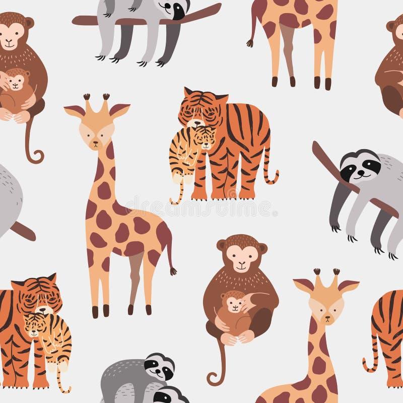 Bezszwowy wzór z różnorodnymi ślicznymi i śmiesznymi kreskówka zoo zwierzętami na białym tle - małpy, opieszałość, tygrys, żyrafa royalty ilustracja