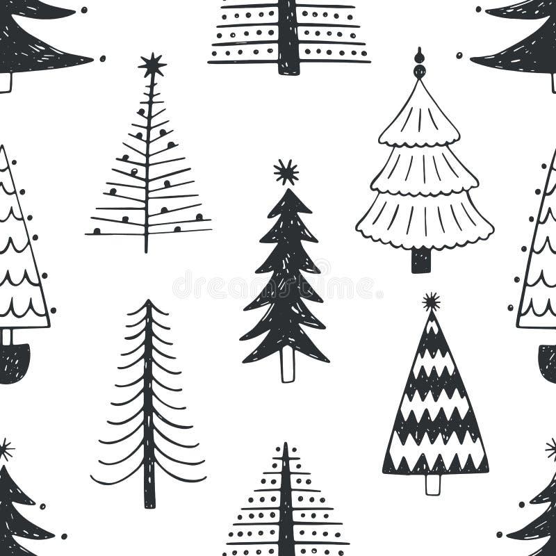 Bezszwowy wzór z różnorodnymi choinkami, jodłami lub świerczynami rysującymi z konturami na białym tle, Tło z royalty ilustracja