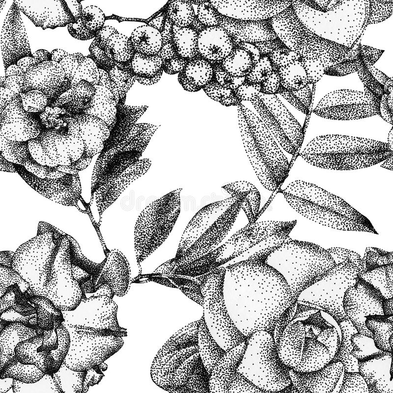 Bezszwowy wzór z różnymi kwiatami i roślinami rysującymi ręką ilustracja wektor