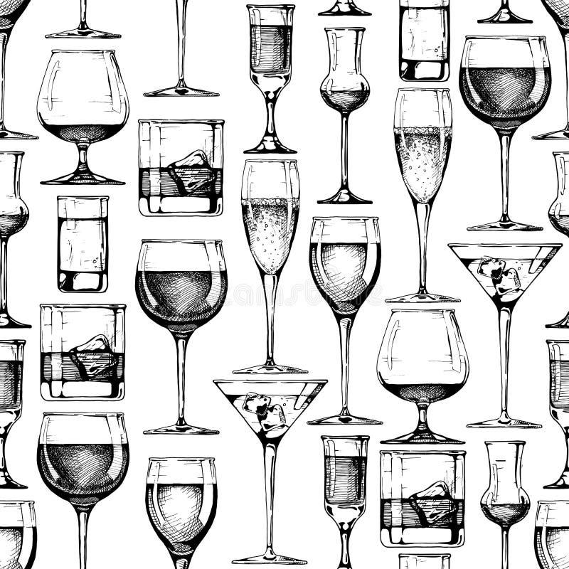 Bezszwowy wzór z różnymi szkło czara royalty ilustracja