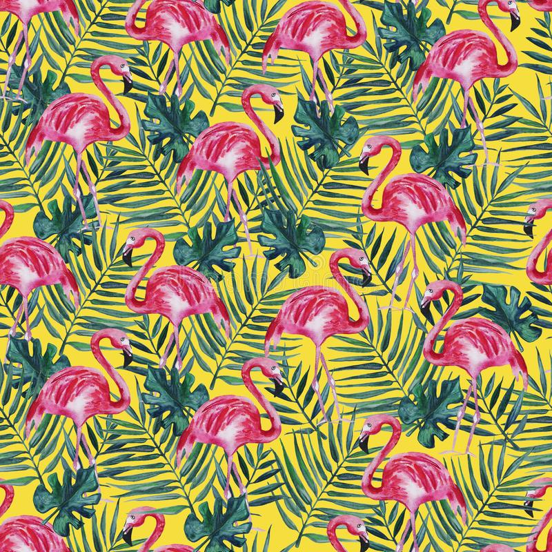 Bezszwowy wzór z różowym flamingiem i palmą opuszcza na żółtym tle beak dekoracyjnego lataj?cego ilustracyjnego wizerunek sw?j pa ilustracja wektor