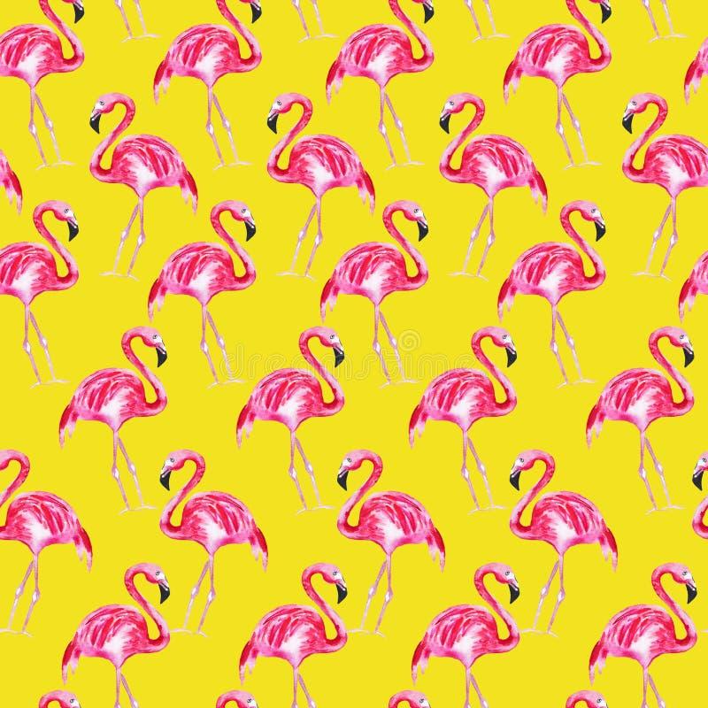 Bezszwowy wzór z różowym flamingiem na żółtym tle beak dekoracyjnego lataj?cego ilustracyjnego wizerunek sw?j papierowa kawa?ka d ilustracji