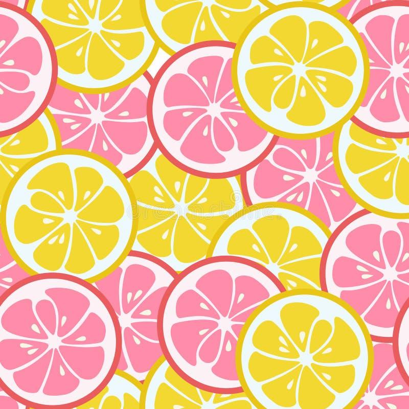 Bezszwowy wzór z różowym i żółtym cytrusem ilustracja wektor
