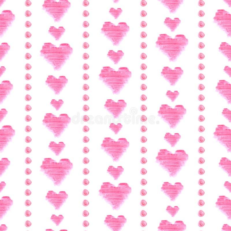 Bezszwowy wzór z różowymi akwareli sercami na białym tle Ręka rysujący elementy royalty ilustracja
