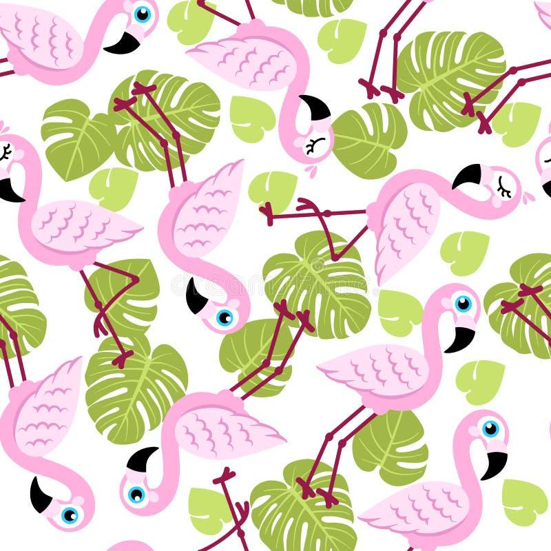Bezszwowy wzór z różowymi flamingami i zielonymi palmowymi liśćmi royalty ilustracja