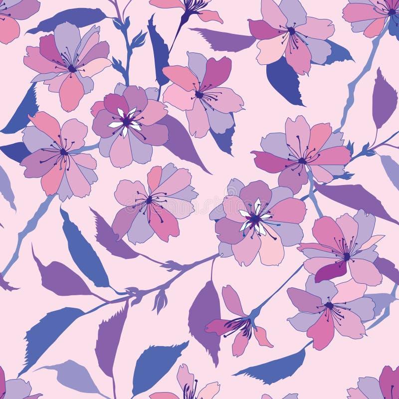 Bezszwowy wzór z różowymi i lilymi kwiatami ilustracja wektor