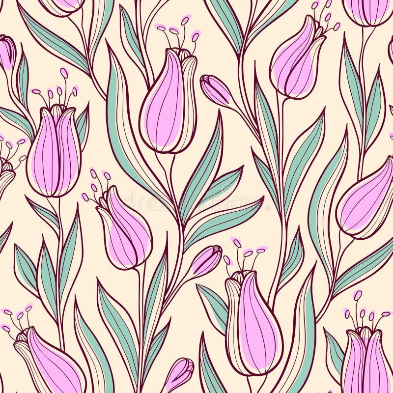 Bezszwowy wzór z różowymi tulipanami ilustracji