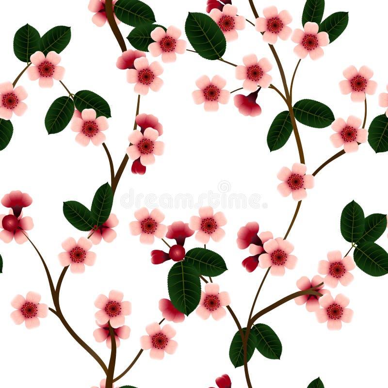 Download Bezszwowy Wzór Z Różowymi Wiśnia Kwiatami, Liściem I Ilustracja Wektor - Ilustracja złożonej z 1, wzór: 65225289