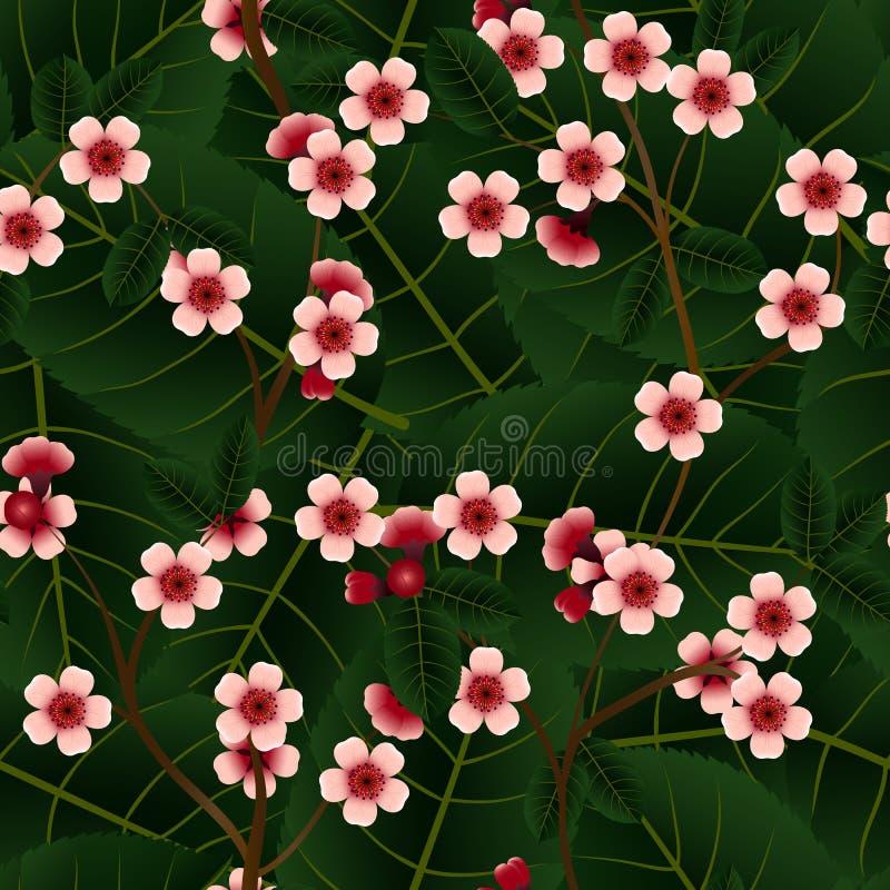 Download Bezszwowy Wzór Z Różowymi Wiśnia Kwiatami, Liściem I Ilustracja Wektor - Ilustracja złożonej z abstrakt, wschód: 65225433