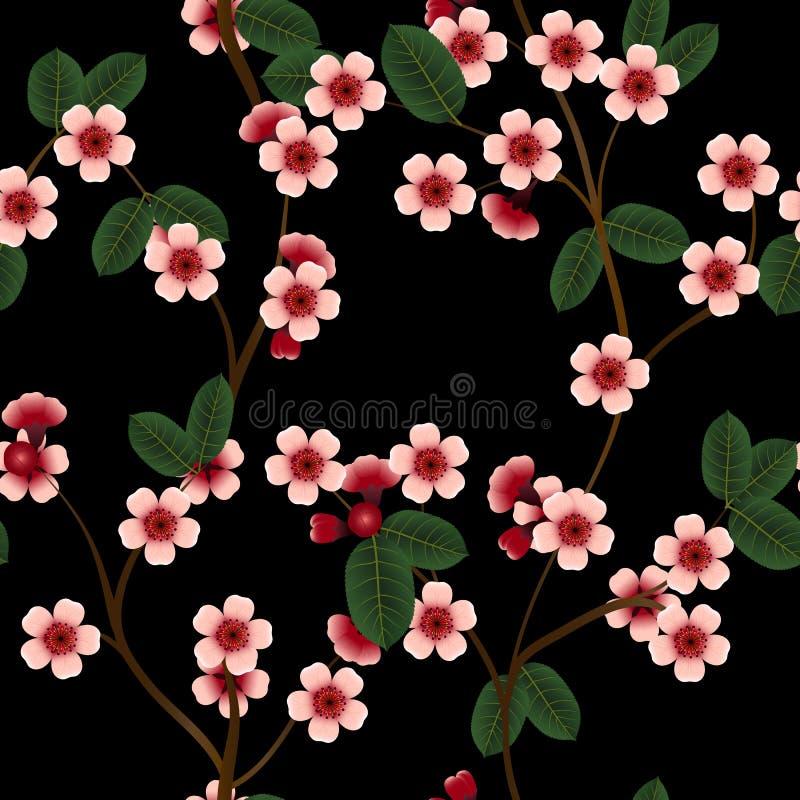 Download Bezszwowy Wzór Z Różowymi Wiśnia Kwiatami, Liściem I Ilustracja Wektor - Ilustracja złożonej z tło, naturalny: 65225638