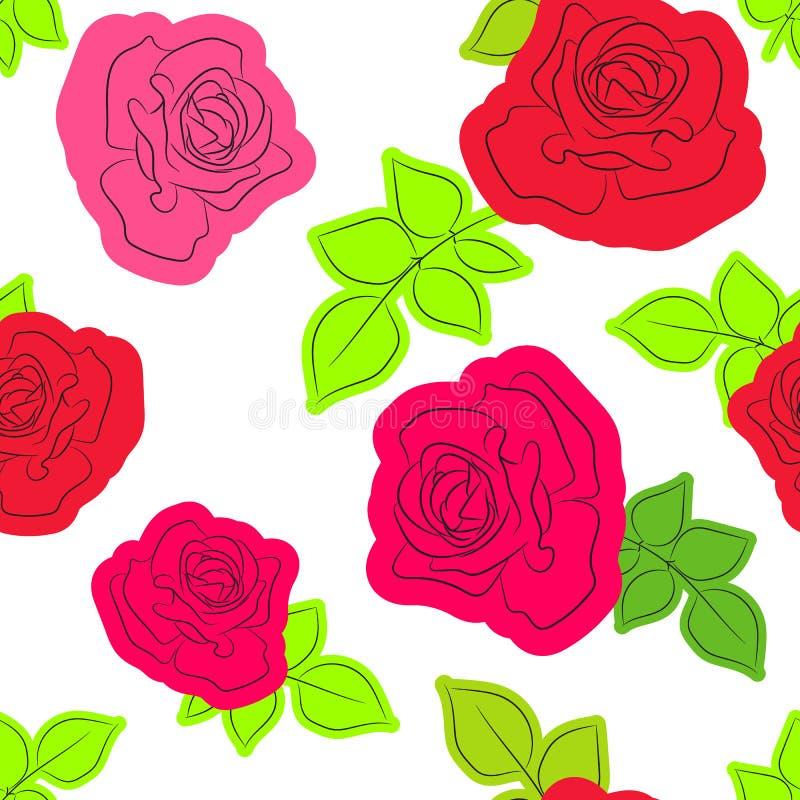 Bezszwowy wzór z róży sylwetką Wektoru wzór dla poduszki, poduszki, bandanna, chustki i chusty tkaniny druku, kwiecisty ilustracji