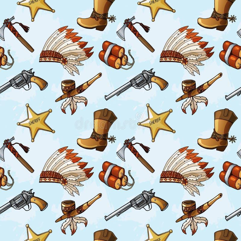 Bezszwowy wzór z ręką rysującą barwił Dzikich Zachodnich elementy ilustracja wektor