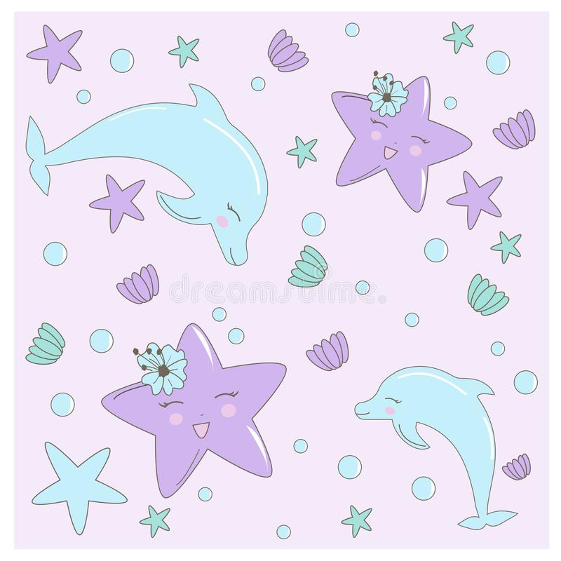 Bezszwowy wzór z ręką rysującą z denną gwiazdą, kwitnie i łuska w pastelowych kolorach Śliczna ilustracja dla dziecko prysznic, u royalty ilustracja