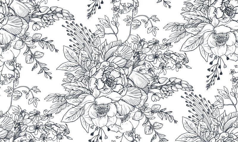 Bezszwowy wzór z ręką rysującą kwitnie i rośliny royalty ilustracja
