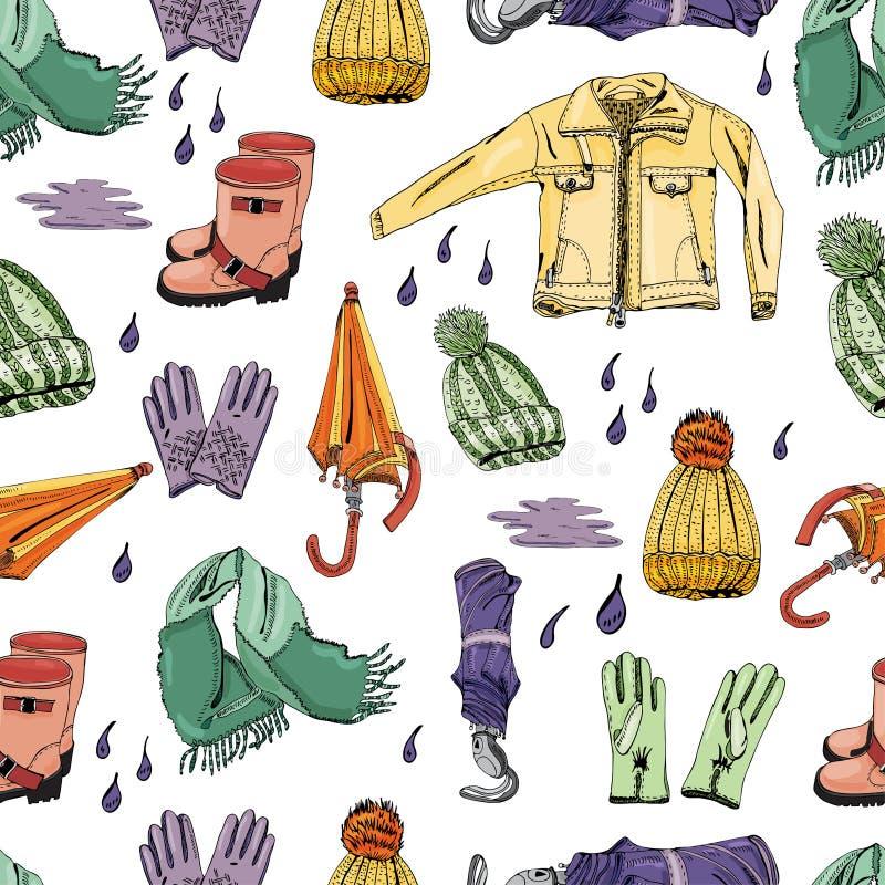 Bezszwowy wzór z ręką rysującą rzeczy jesień odziewa i opuszcza Atrament i barwiący nakreślenie elementy royalty ilustracja