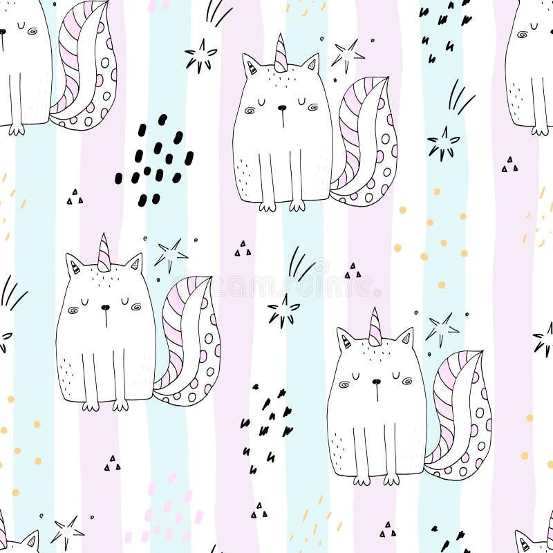 Bezszwowy wzór z ręka rysującą śliczną kot jednorożec Kreskówka kota wektoru ilustracja ilustracji