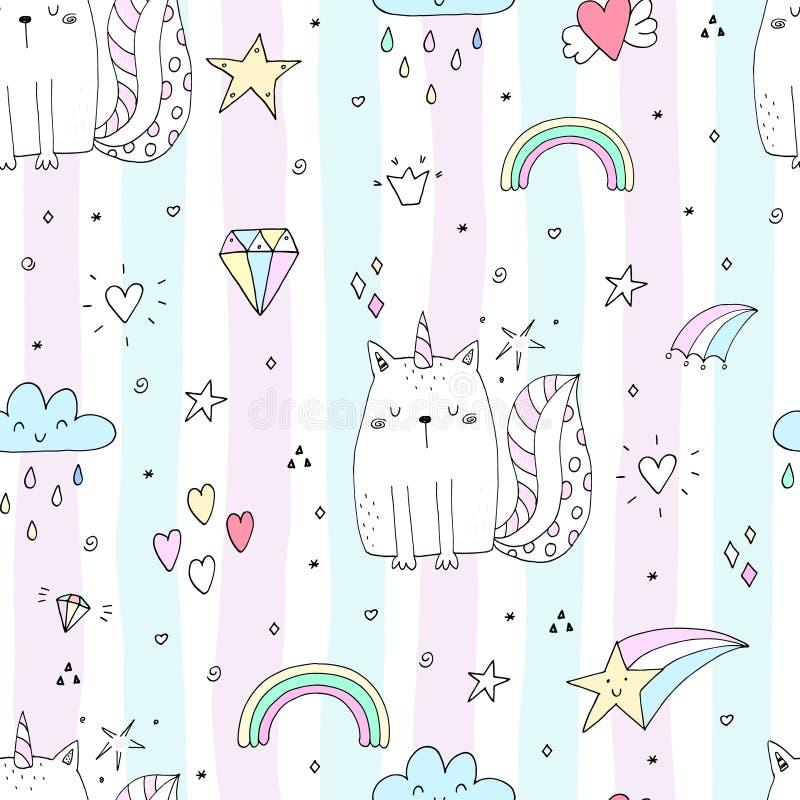 Bezszwowy wzór z ręka rysującą śliczną kot jednorożec Kreskówka kota wektoru ilustracja ilustracja wektor