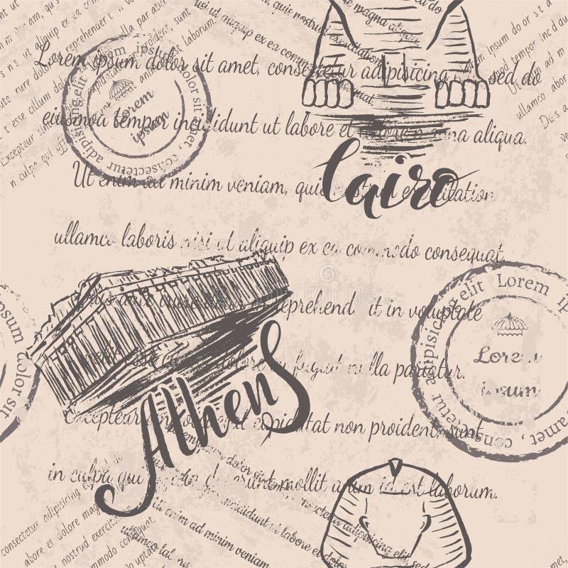 Bezszwowy wzór z ręka rysującym akropolem Ateny, pisze list Ateny, ręka rysującego sfinksa, piszący list Kair i blaknącego tekst ilustracji