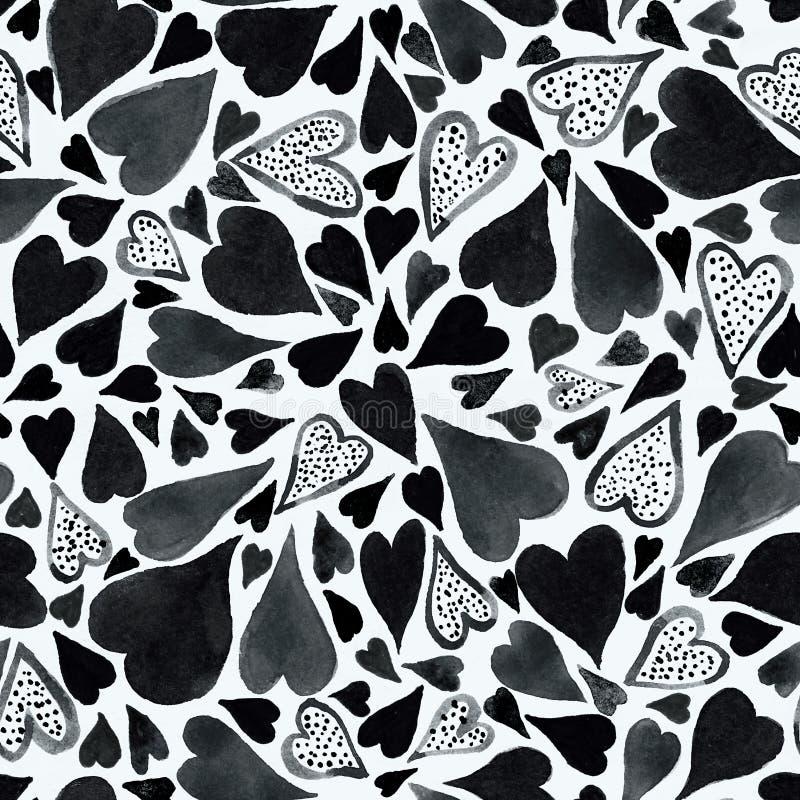 Bezszwowy wzór z ręka rysującym akwareli sercem Ręka malujący wzór Romantyczny ornament dla valentines dnia Atrament ilustracja ilustracji