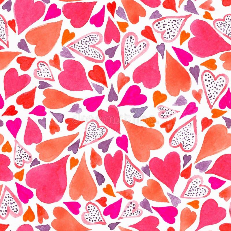 Bezszwowy wzór z ręka rysującym akwareli sercem Ręka malujący wzór Romantyczny ornament dla valentines dnia Atrament ilustracja zdjęcia royalty free