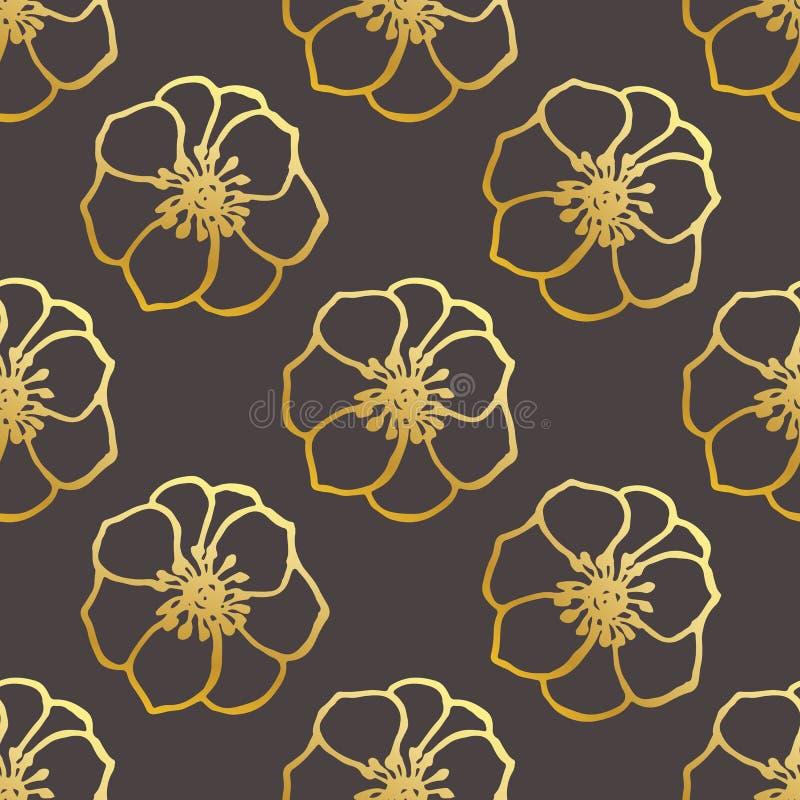 Bezszwowy wz?r Z r?ka Rysuj?cymi anemonami na Czarnym tle ilustracji
