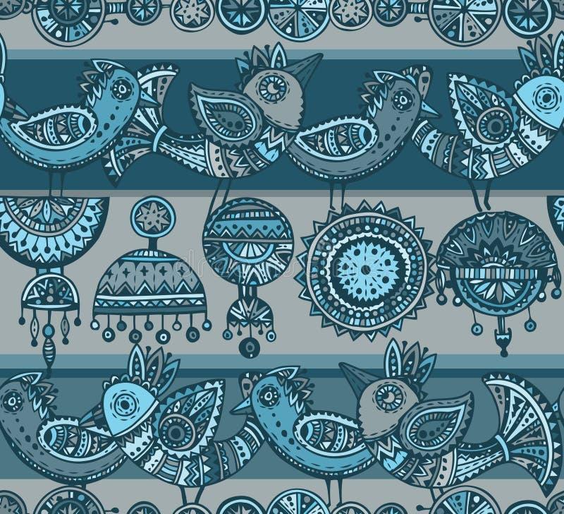Bezszwowy wzór z ręka rysującymi galanteryjnymi ptakami w etnicznym stylowym dowcipie ilustracji