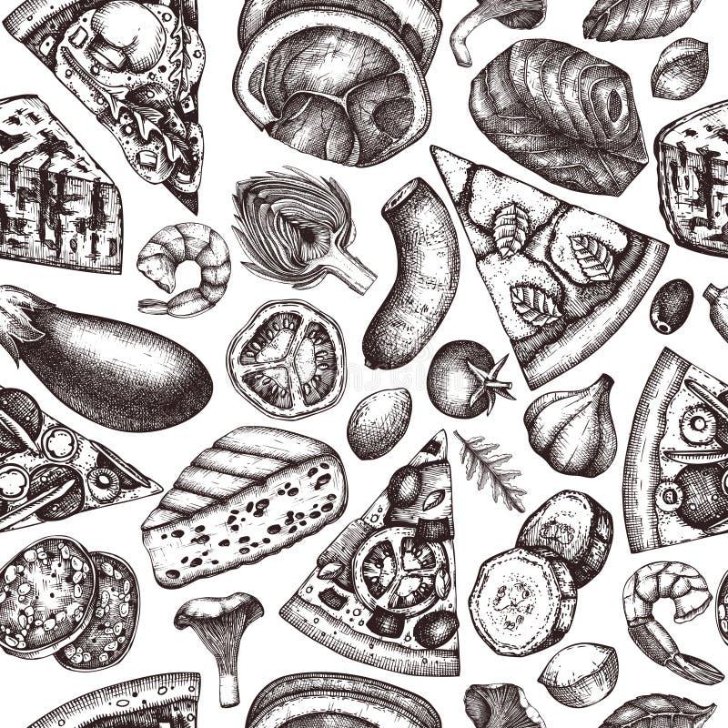 Bezszwowy wzór z ręka rysującymi pizza składnikami kreśli Wektorowy Włoski karmowy rysunek Grawerować stylowego fasta food tła do ilustracja wektor